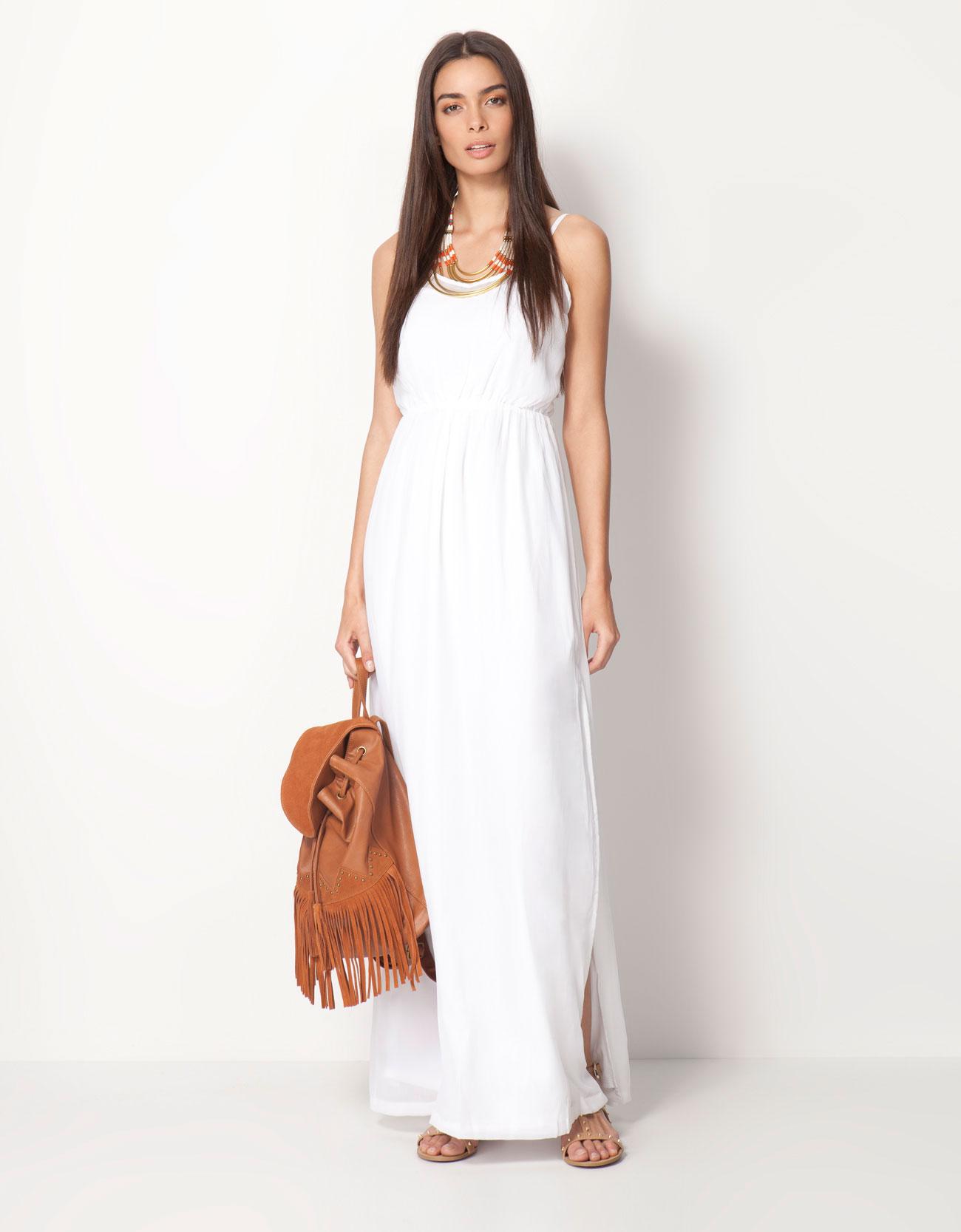 Vestido crochet blanco bershka