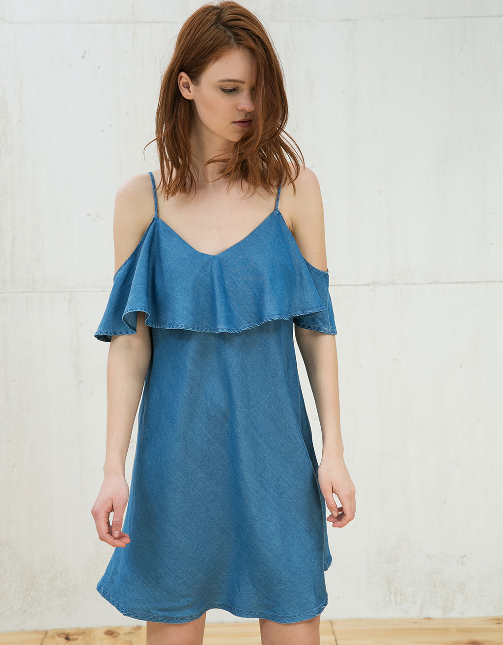 Tencel-Kleid Off-Shoulder mit Rüsche