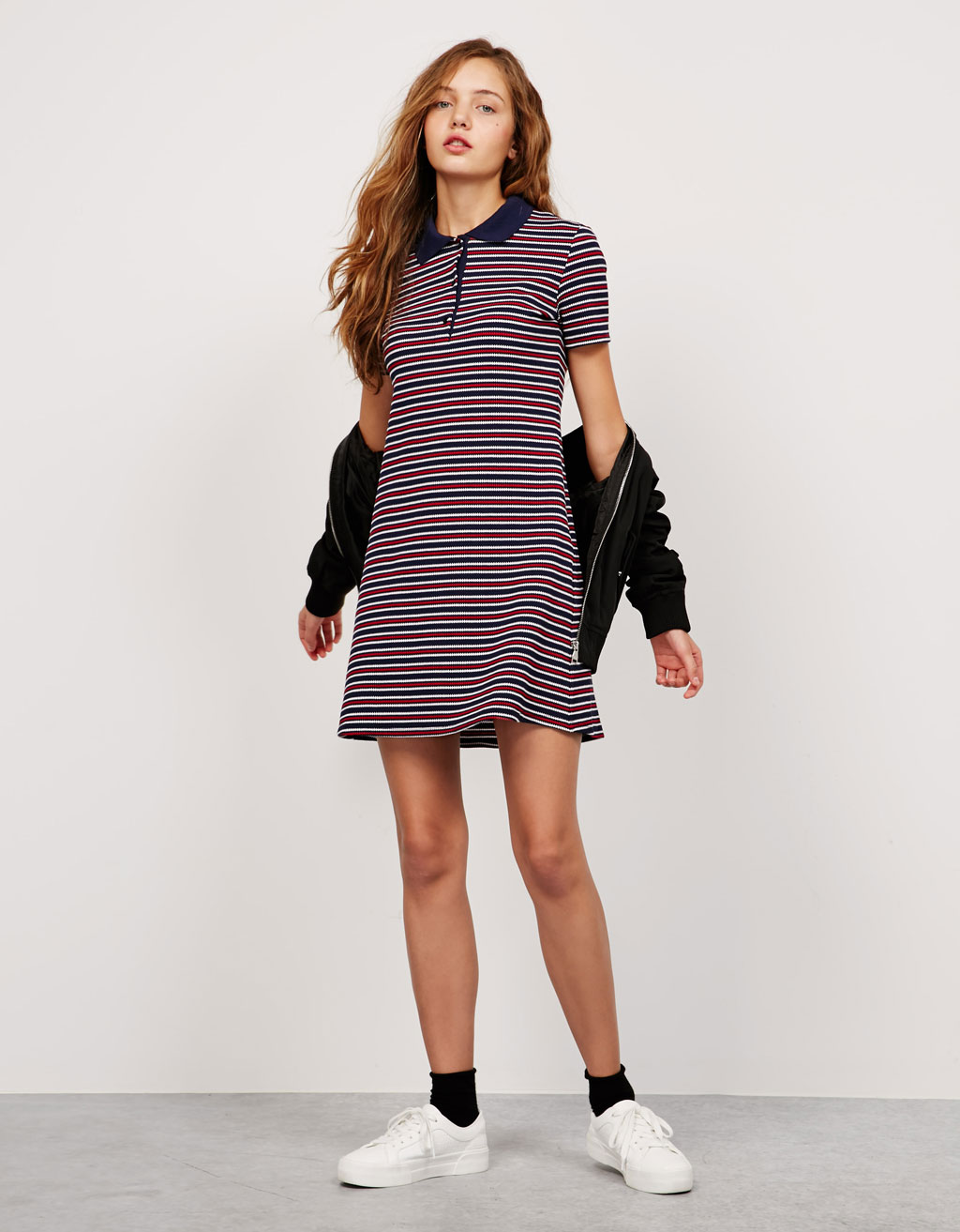 BSK knit dress with collar