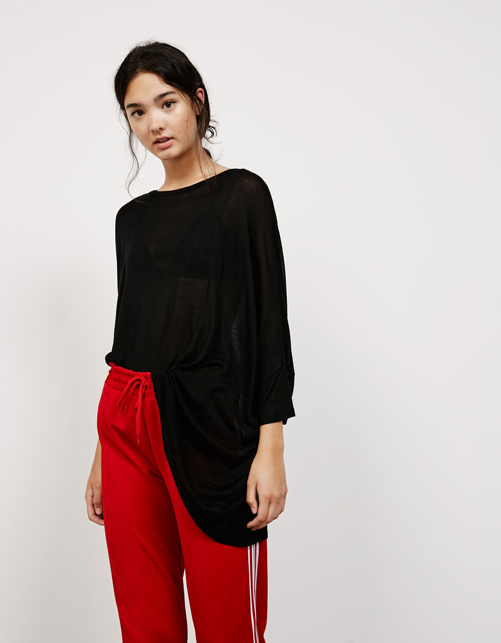 Asymmetric oversized viscose jumper