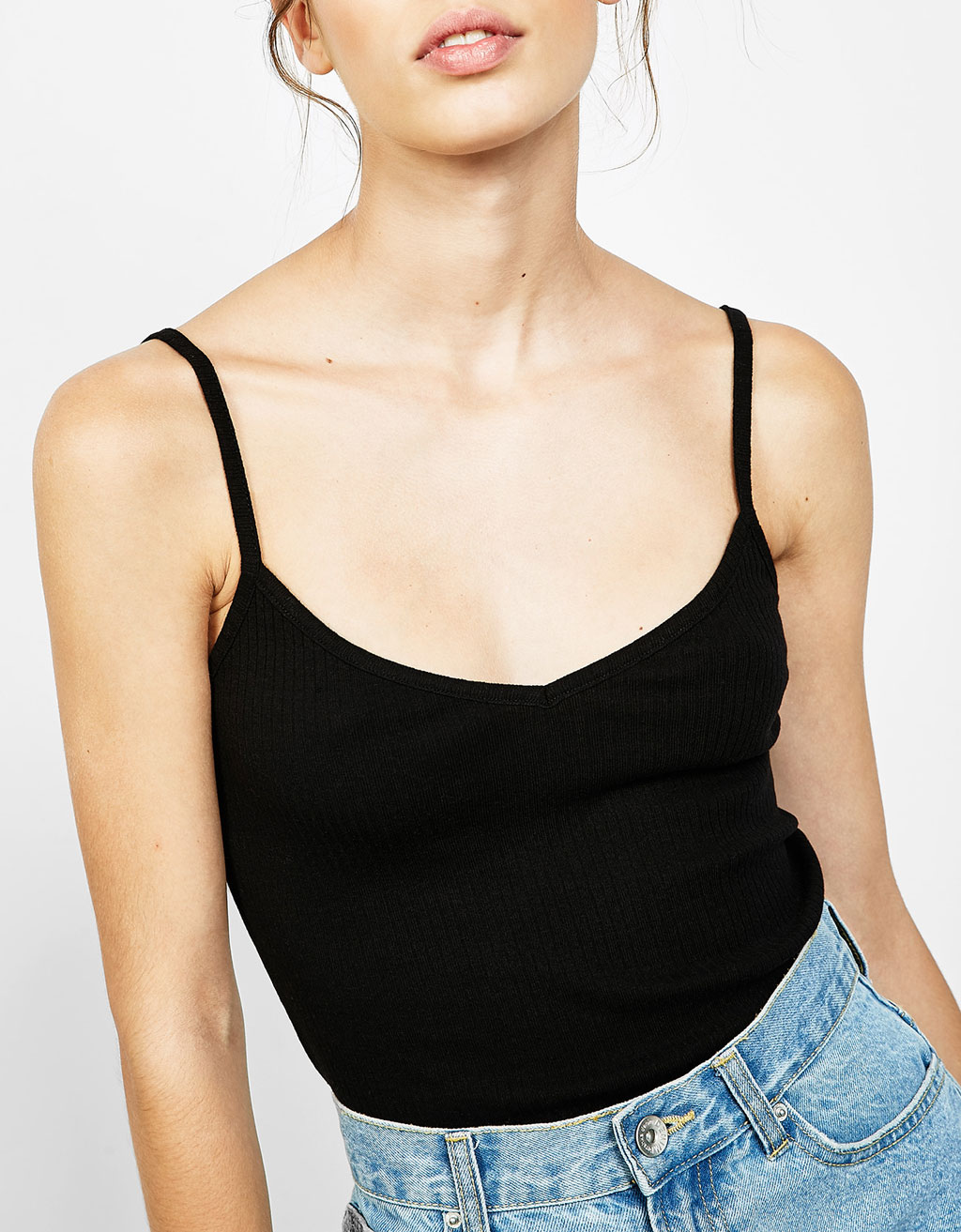 Strappy ribbed top