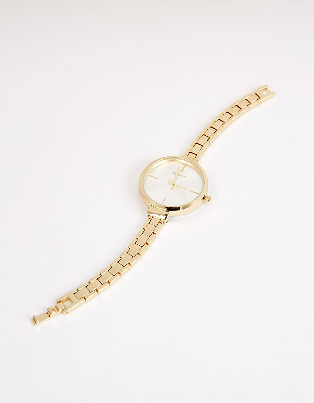 Metallic watch with thin strap