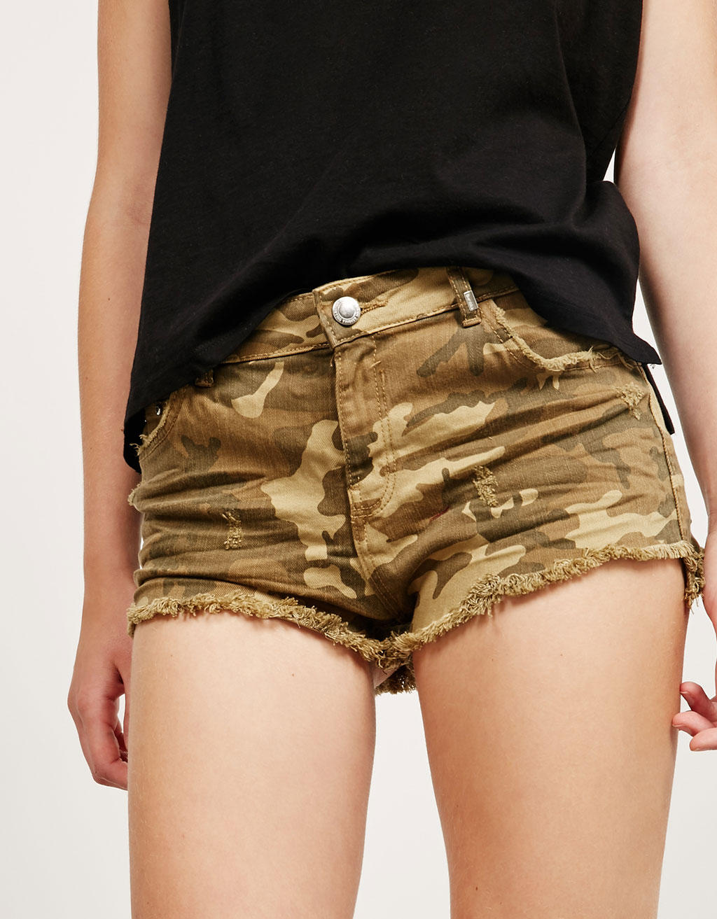 BSK ripped twill shorts