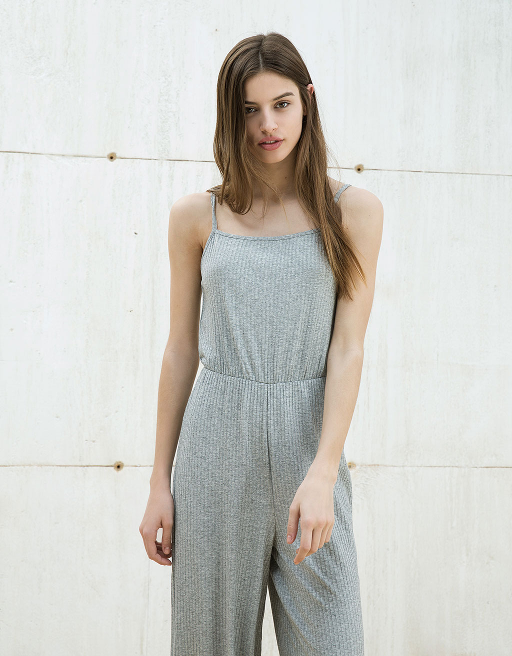 Ribbed halter top culotte jumpsuit