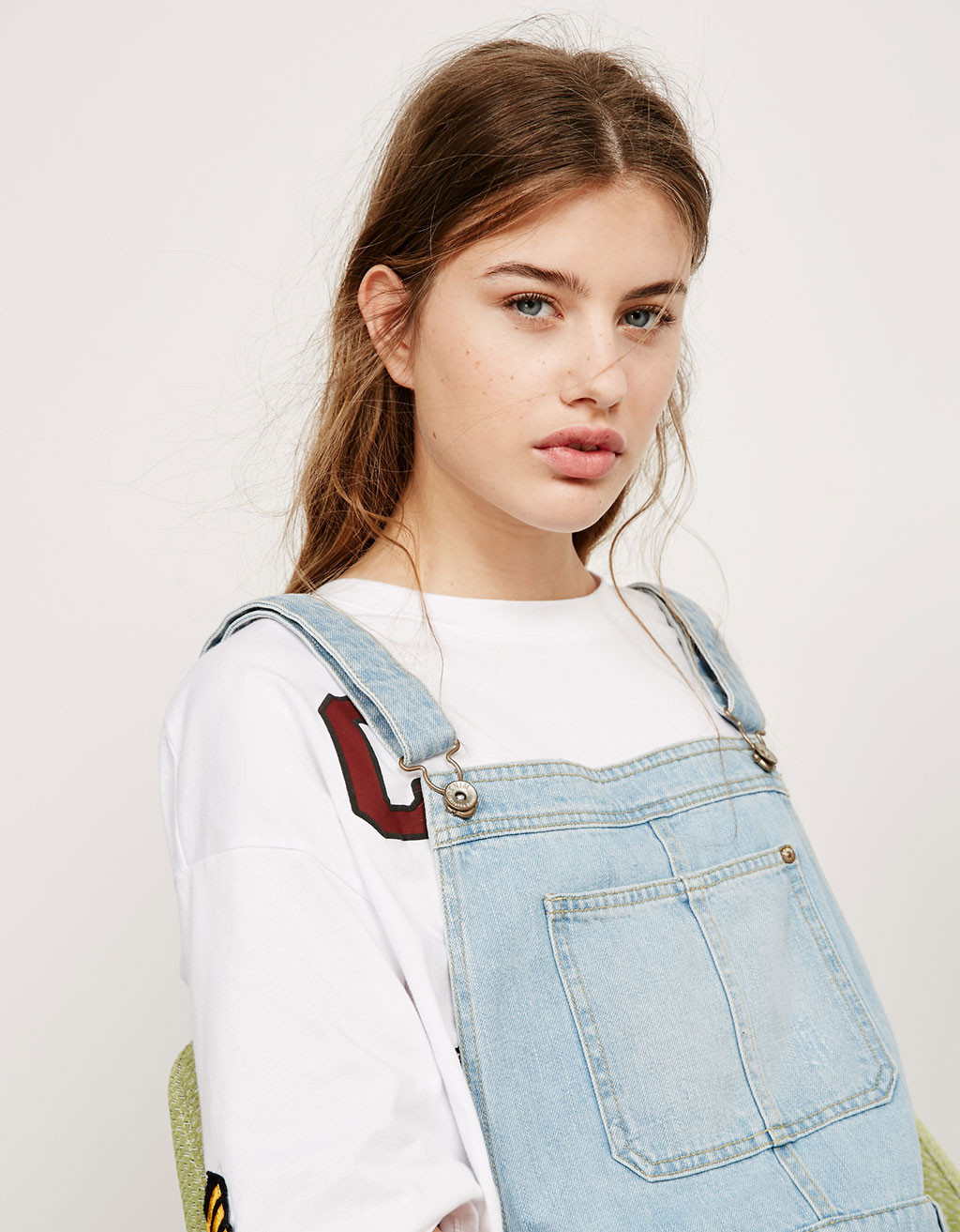 BSK short roll-up denim dungarees