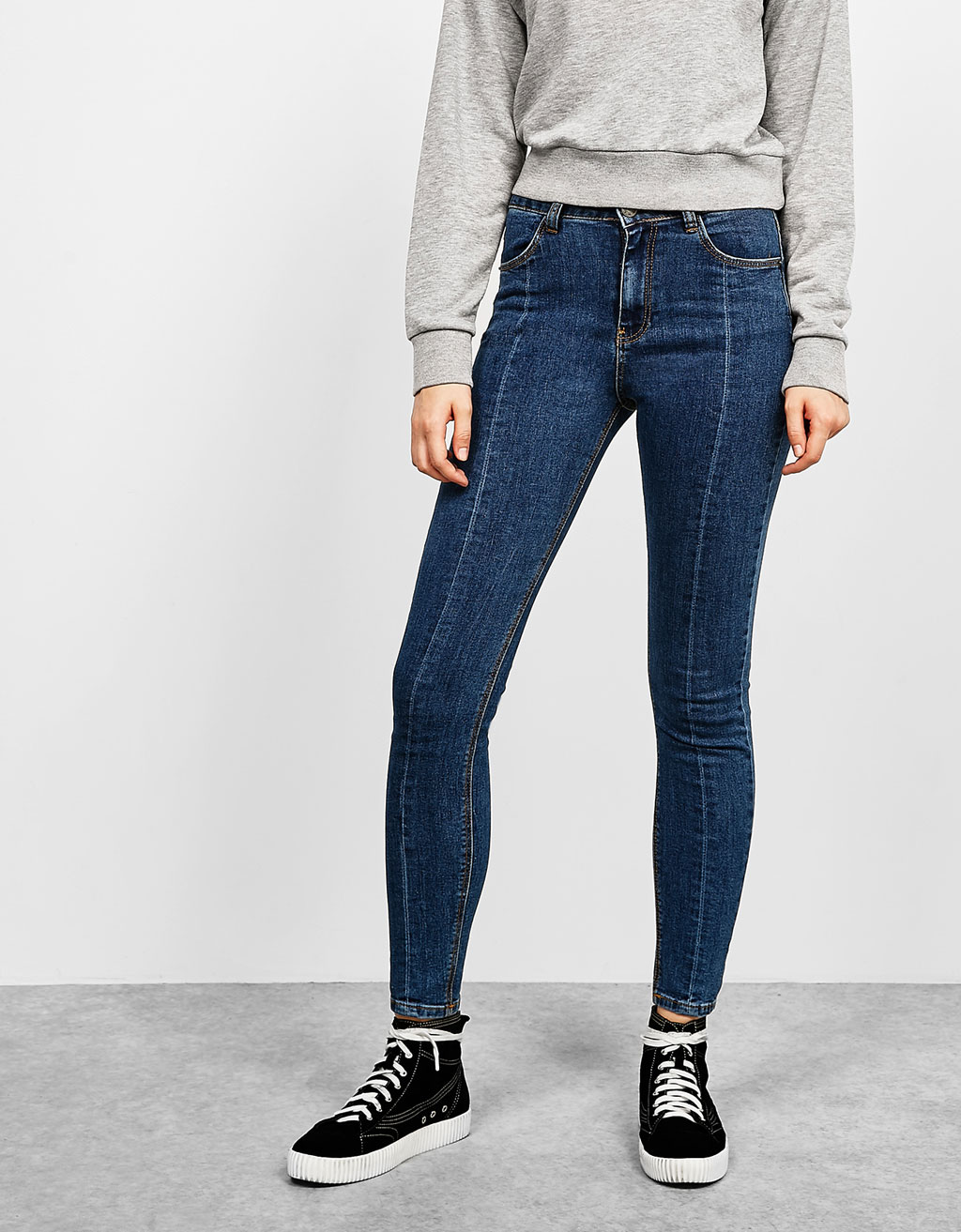 Skinny fit central seam jeans