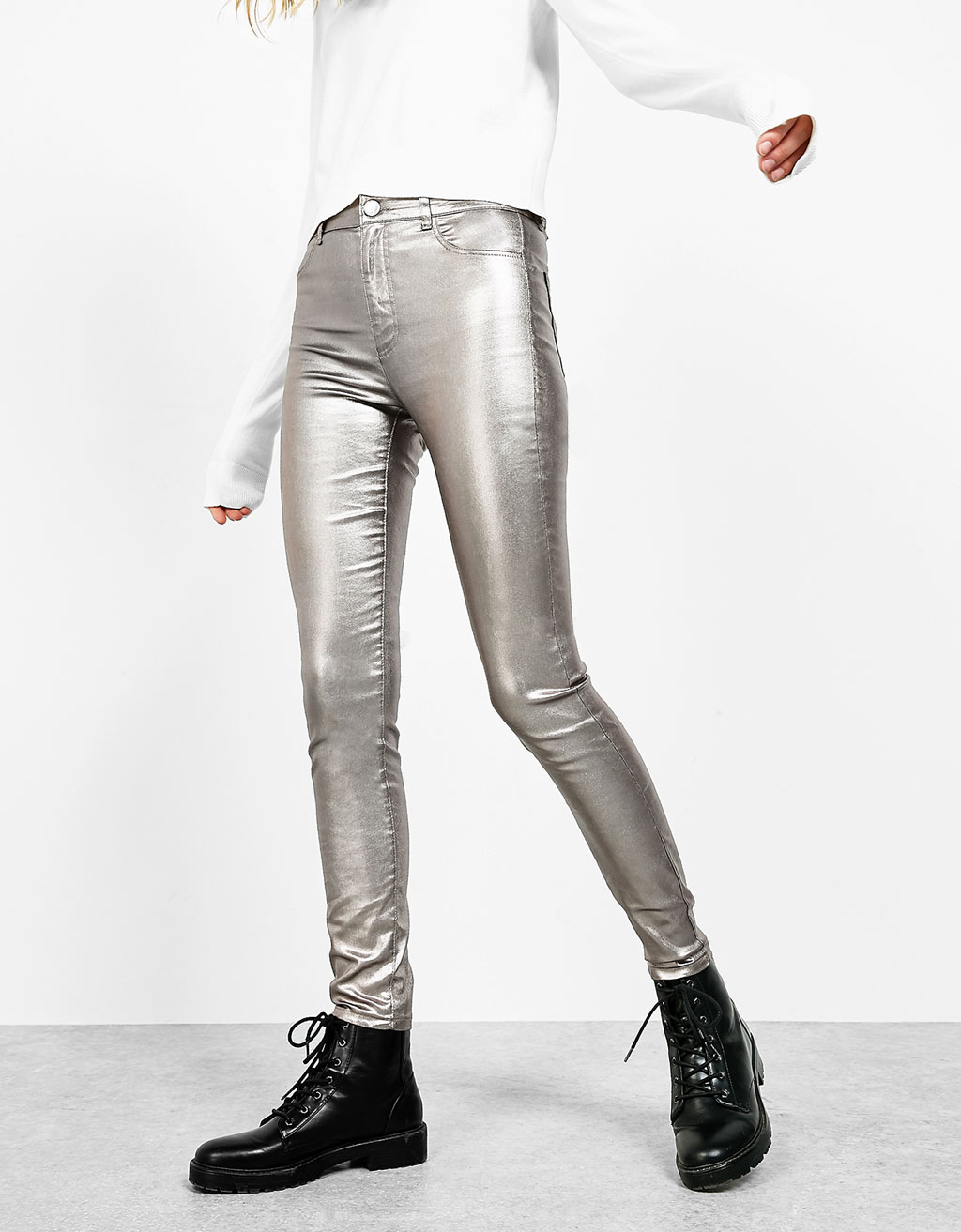 High waist metallic jeans