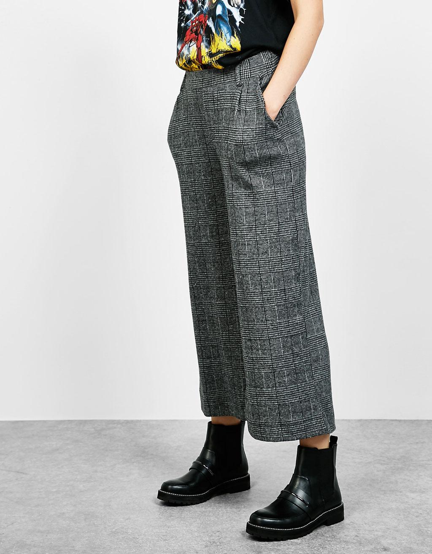 Kockás culotte-nadrág