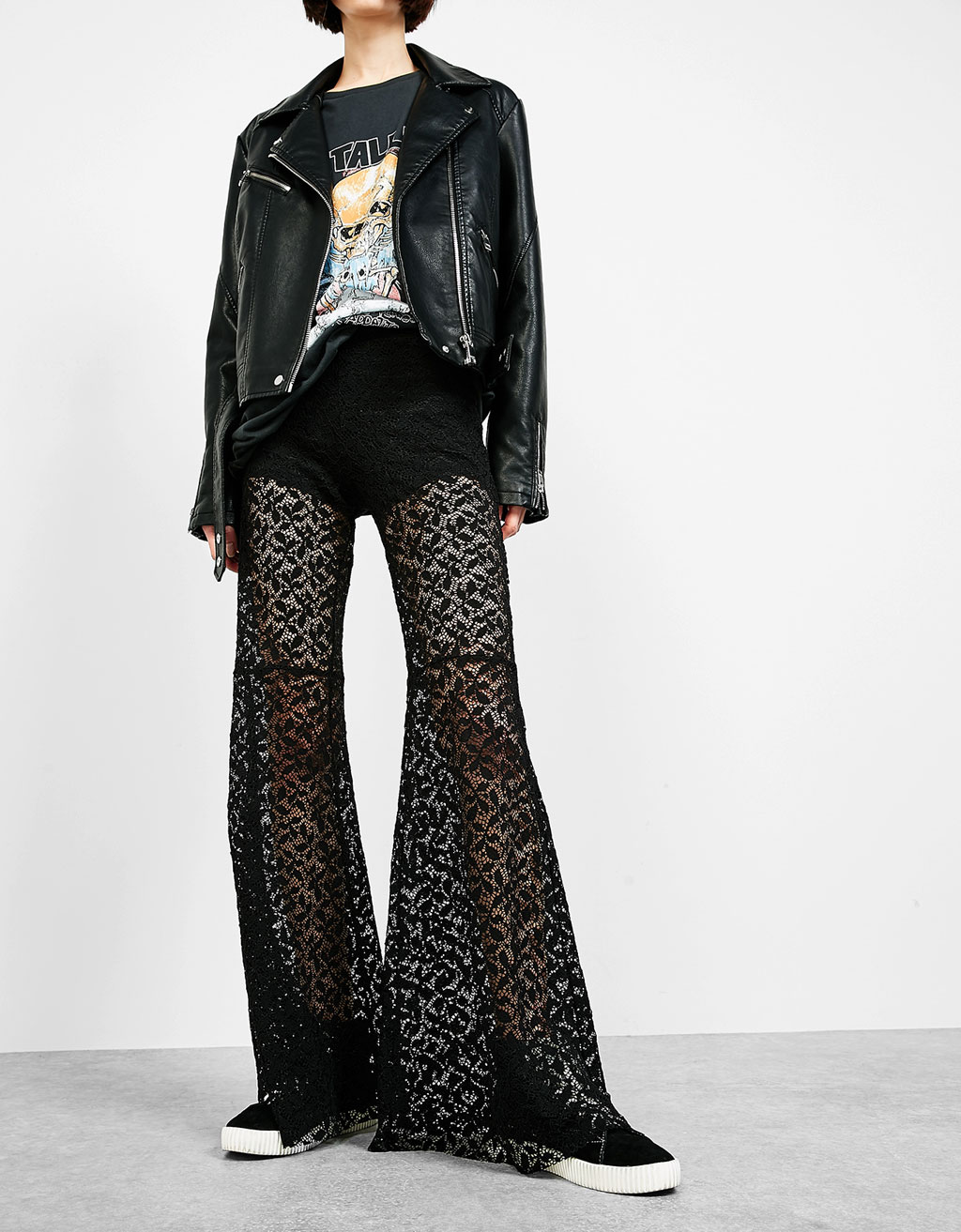 Maxiflare blonde lace trousers