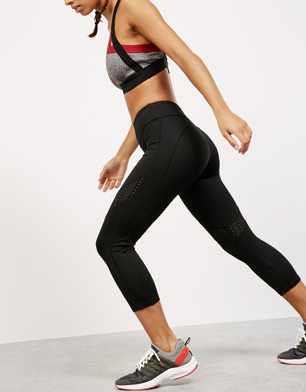 Cutwork stripe  technical sports leggings
