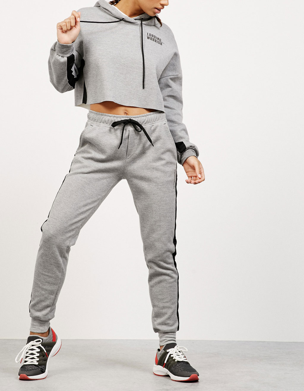 Plush sports trousers with mesh detail