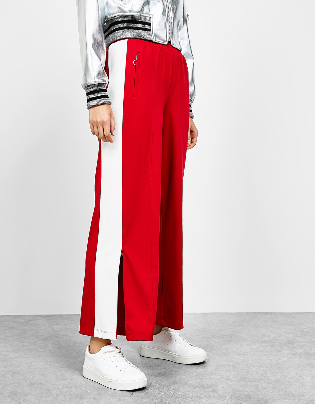 Plush trousers with side bands