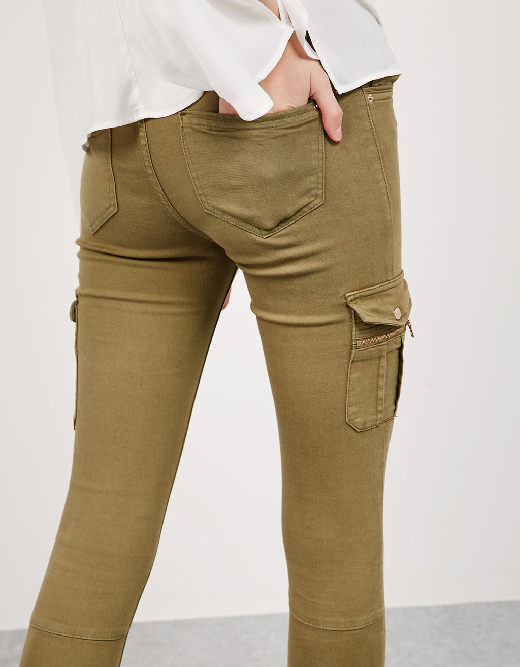 Cotton and Lycra cargo trousers