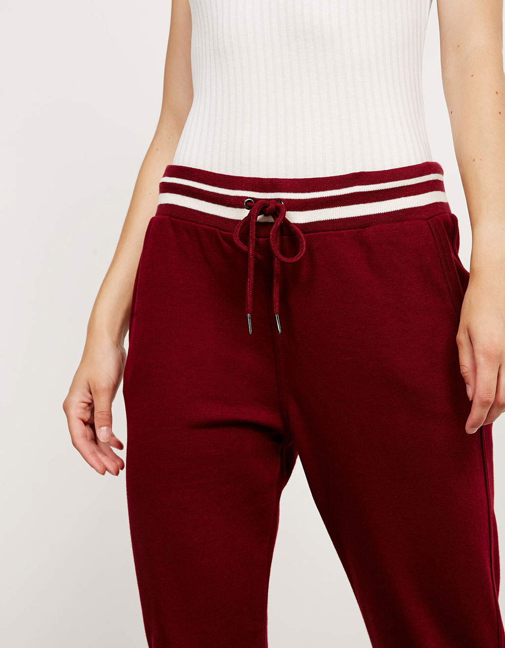 Striped waist jogger trousers