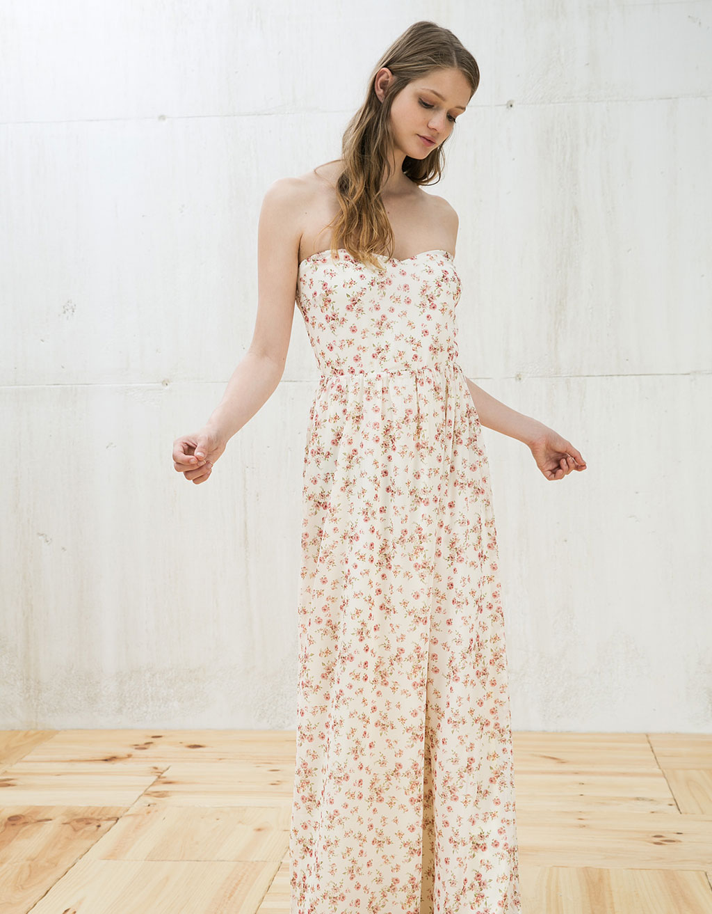 Long, strapless printed dress