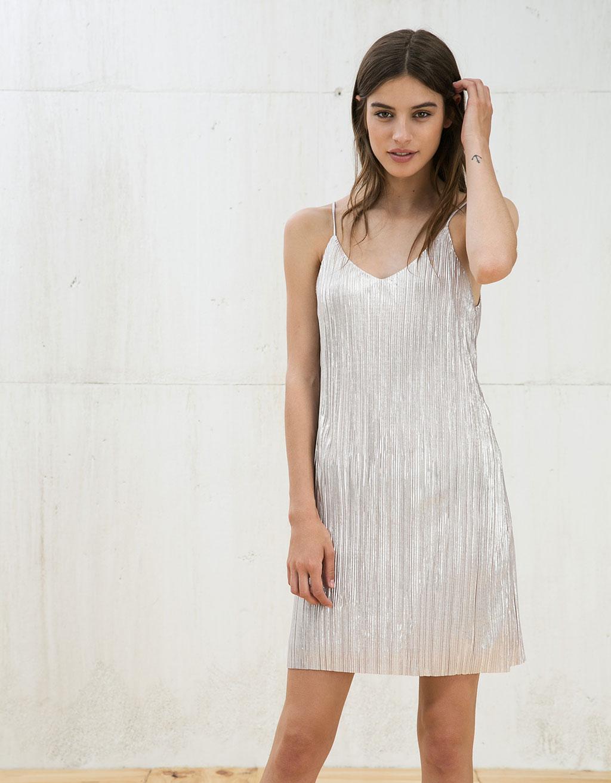Kleid Metallglanz mit Spaghettiträger