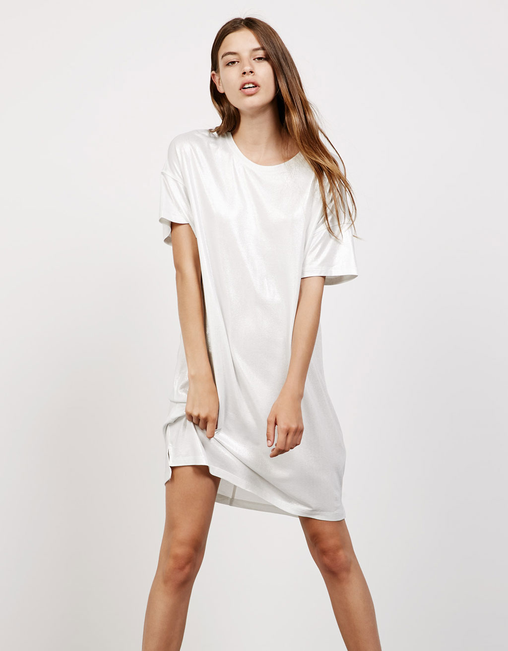 Short sleeve metallic dress