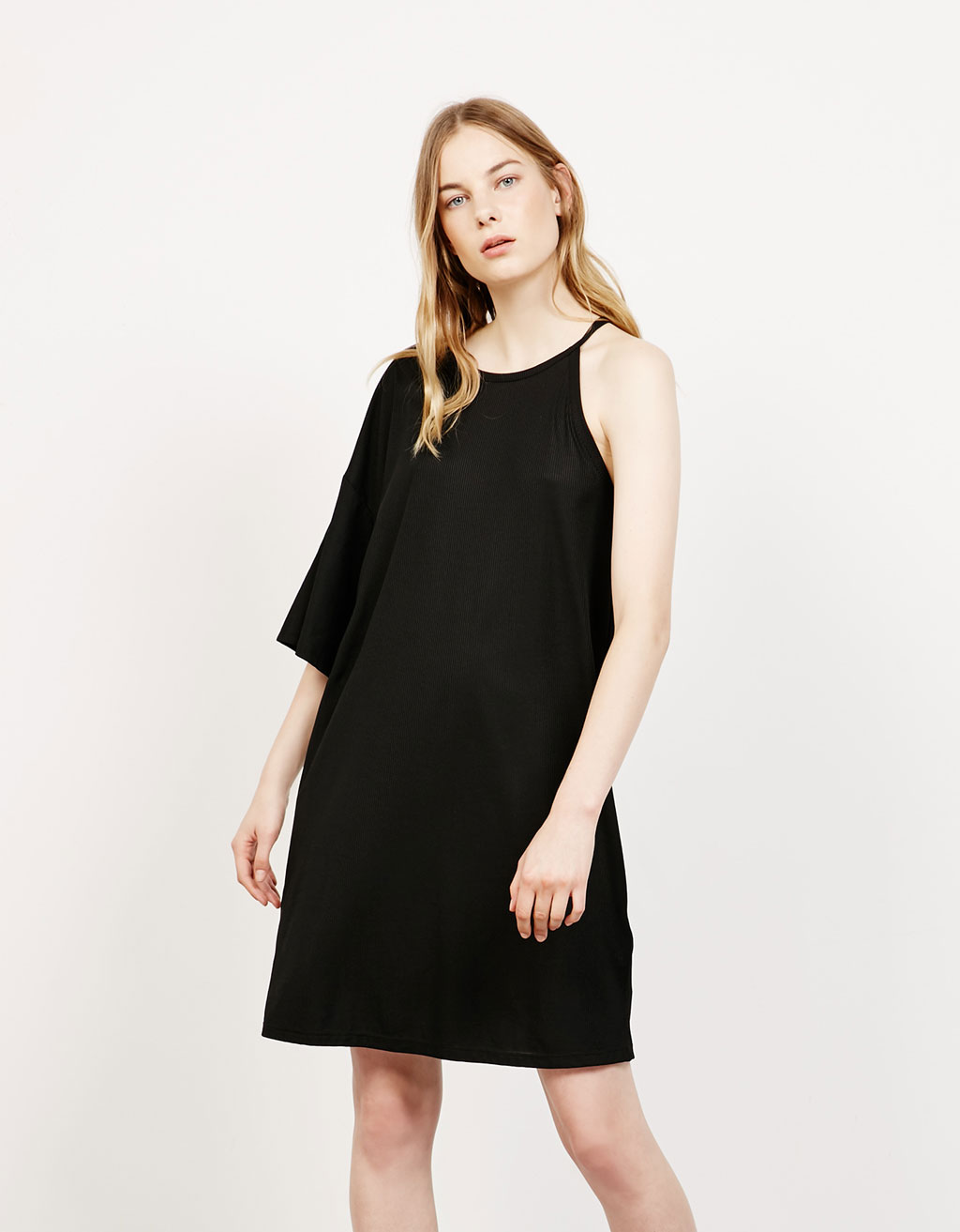 Asymmetric ribbed dress