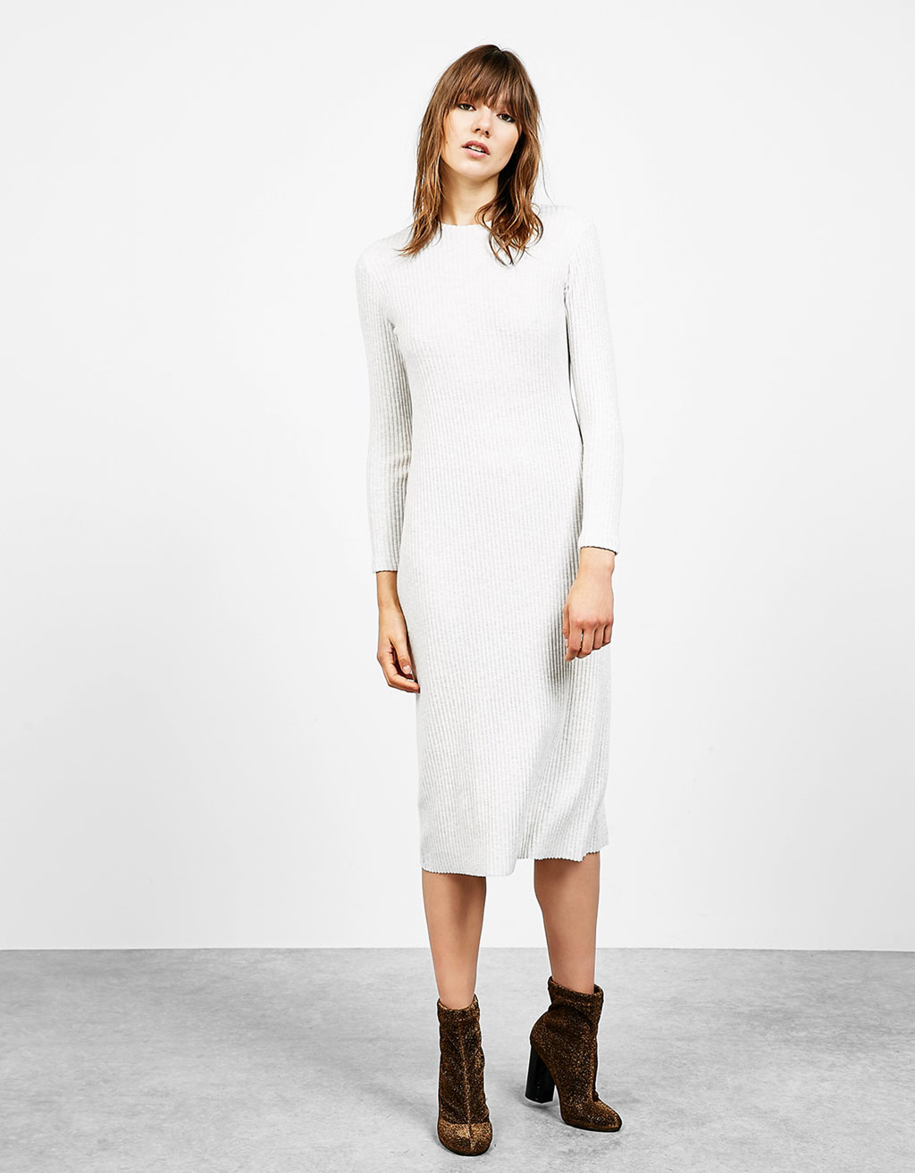 Ribbed straight cut midi dress