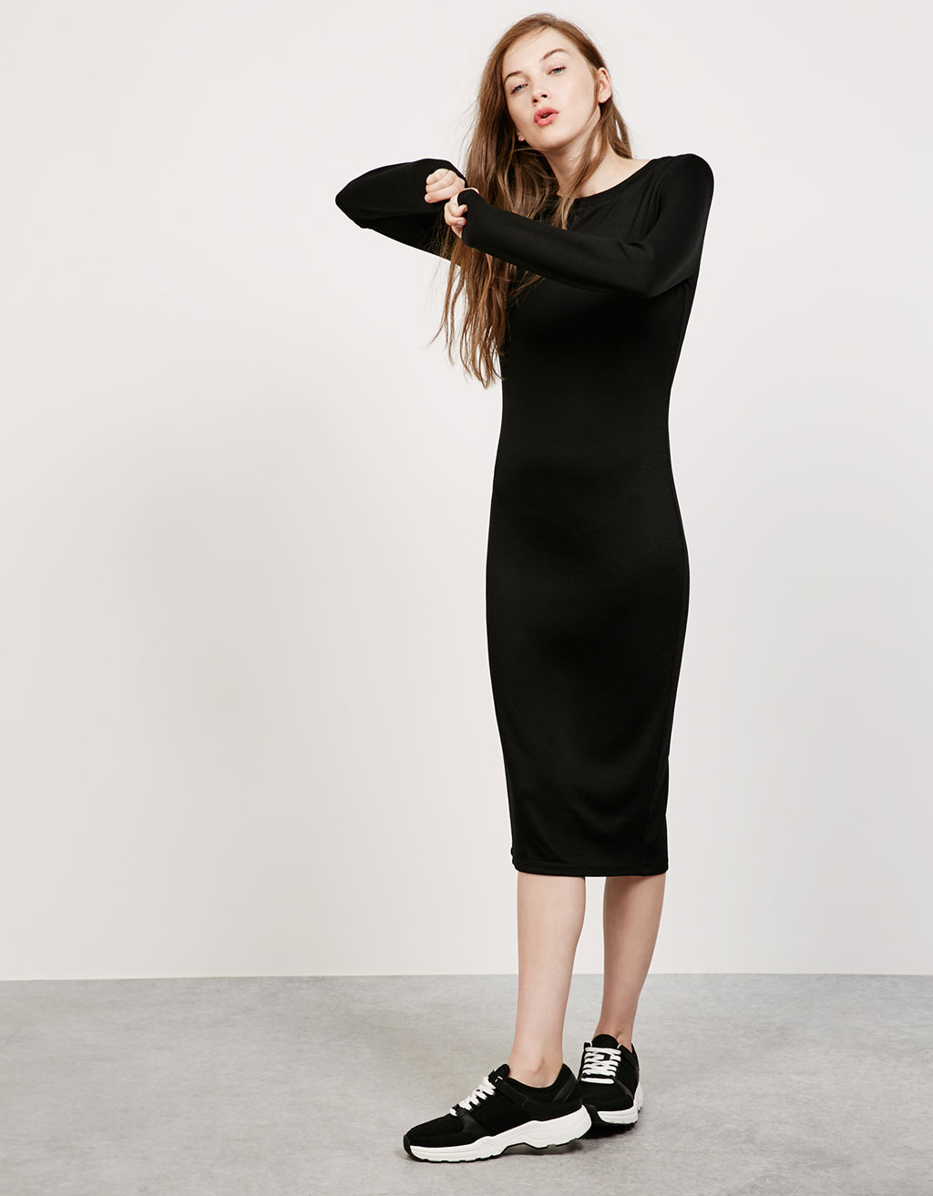 Long sleeve tight-fitting ponte di roma dress