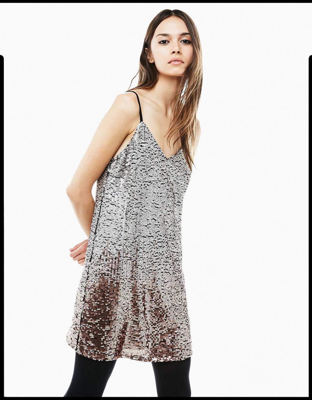 Sequin dress with metallic ombré detail