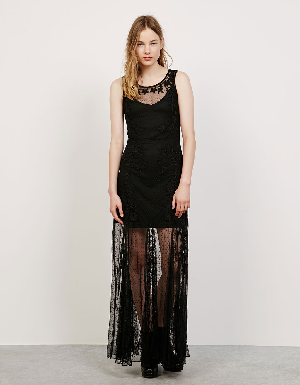 Embroidered lace and plumetis gothic dress
