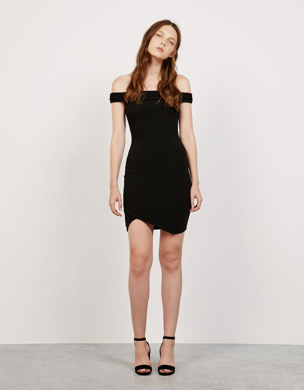 Asymmetric hem, Bardot neckline dress