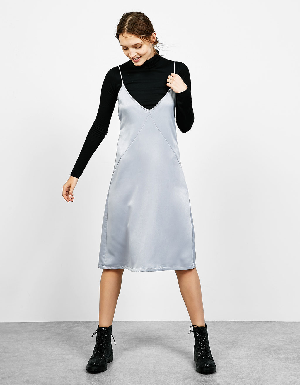 Silver strappy sateen dress