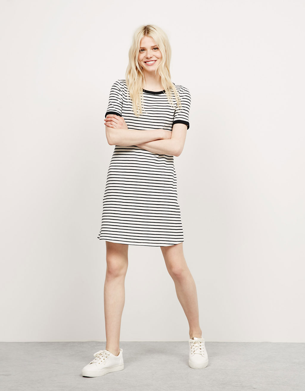 BSK ribbed short sleeve dress with stripes