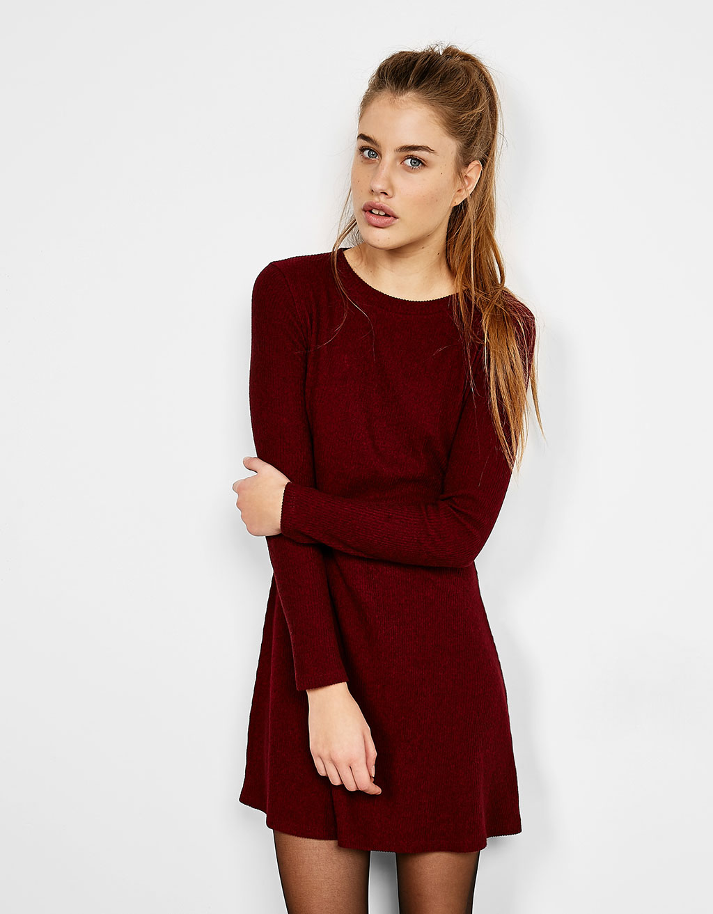 Long-sleeve ribbed dress