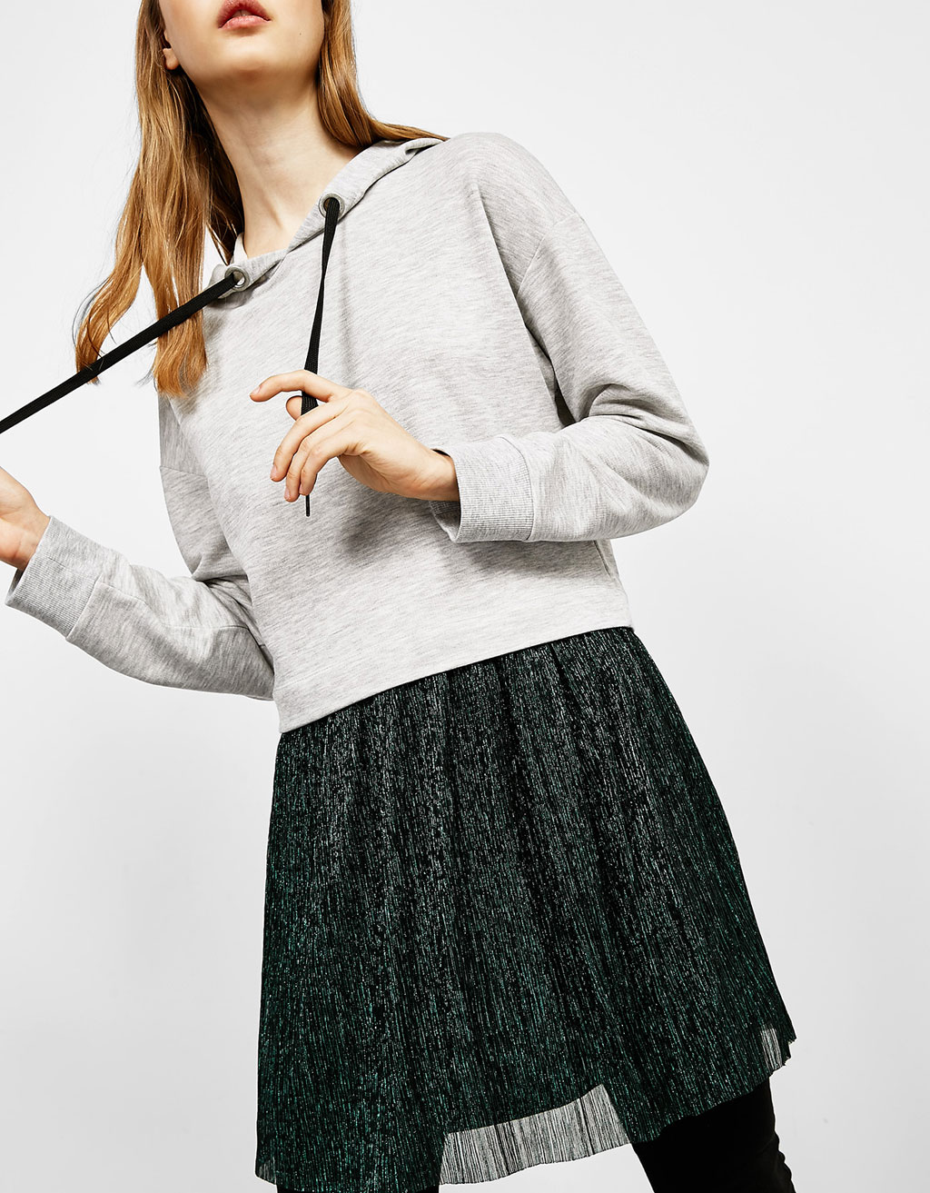 Dress with plush sweatshirt top and shimmer skirt