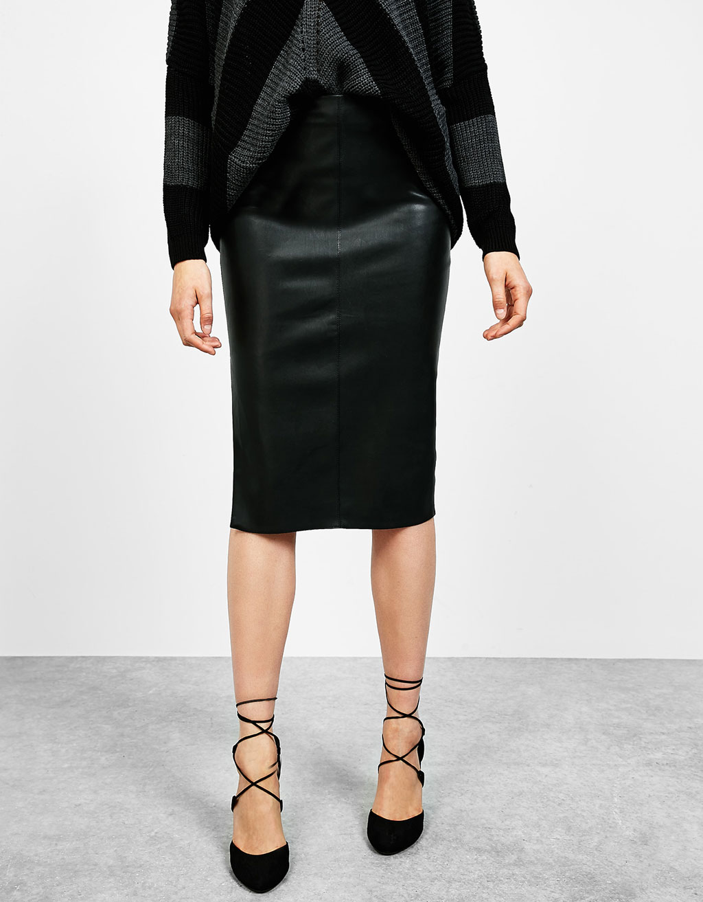 Midi leather-effect skirt