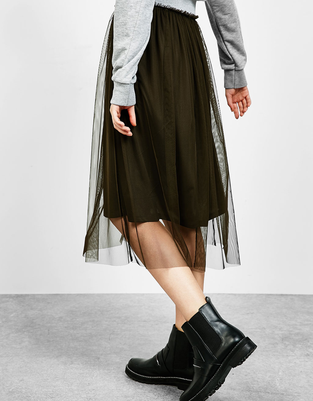 Tulle midi skirt with elastic waist