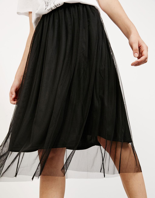 Falda midi tul goma cintura