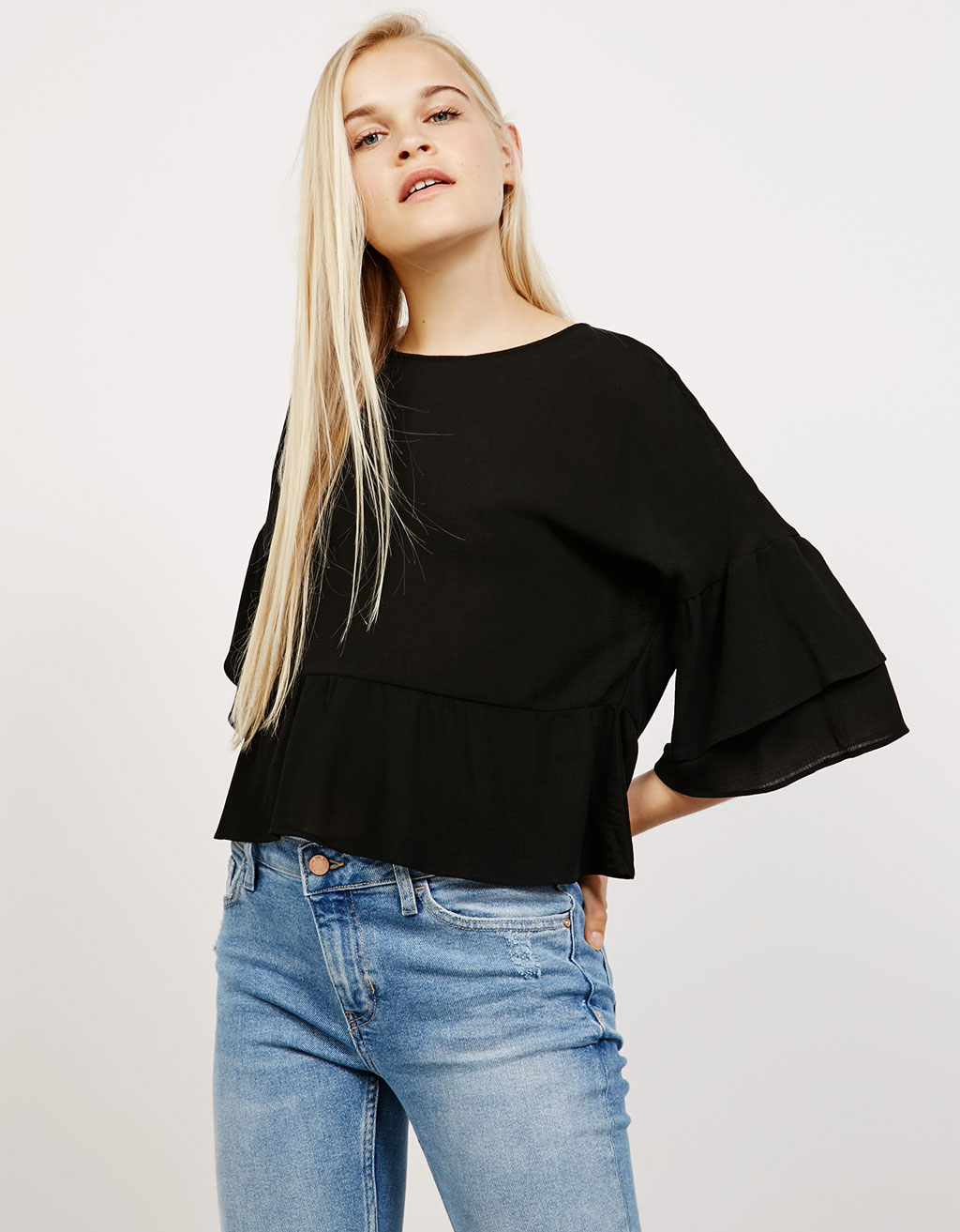 3/4 sleeve ruffle top