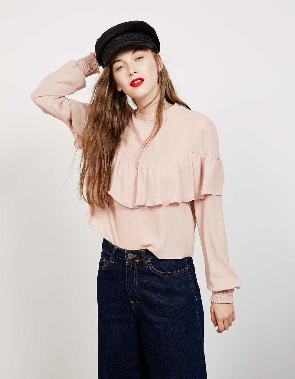 Puffy sleeve crepe top with ruffles