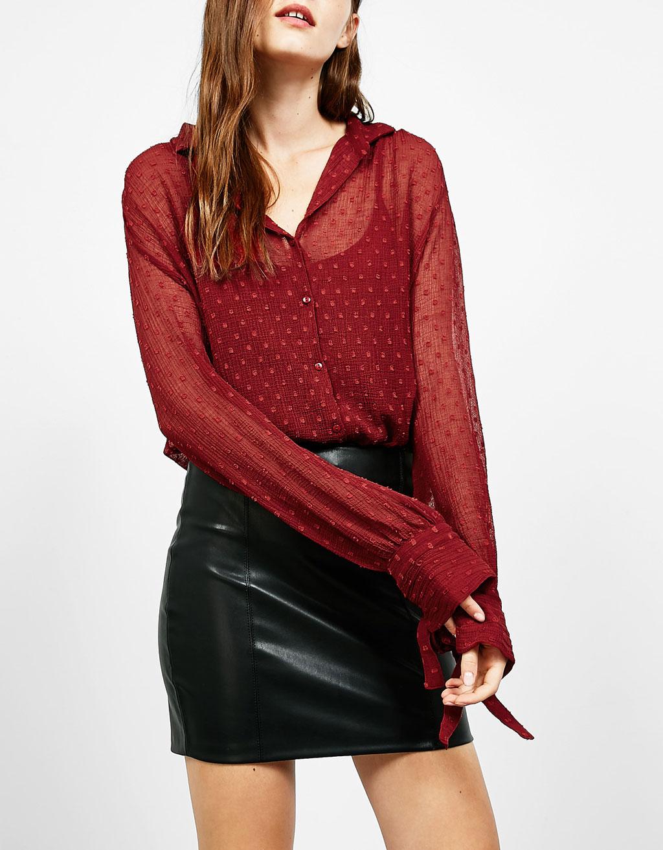 Plumetis lace bodysuit blouse