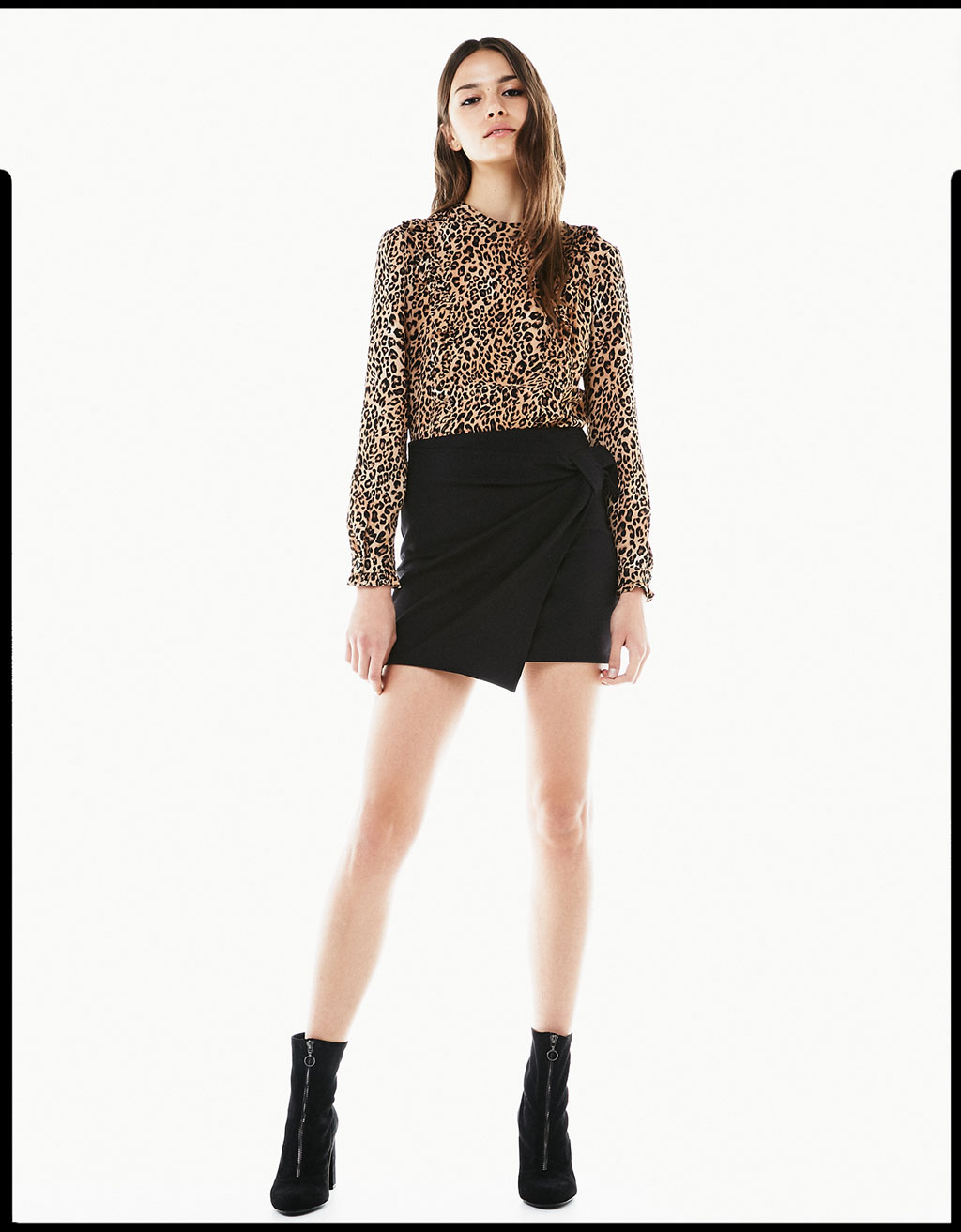 Leopard print frilly blouse