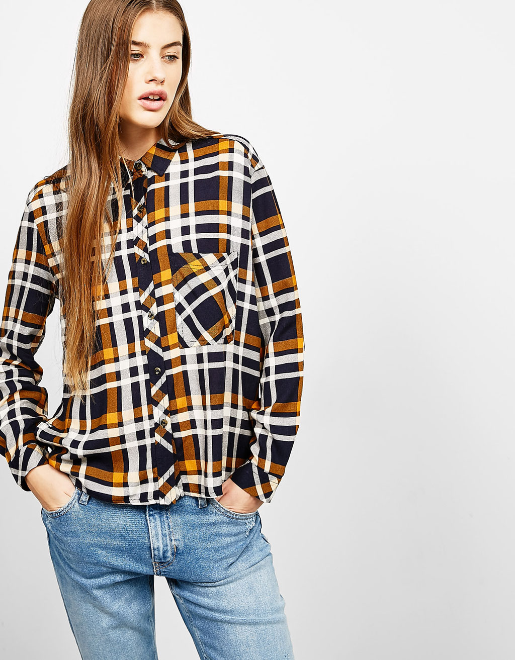 BSK side button checked shirt