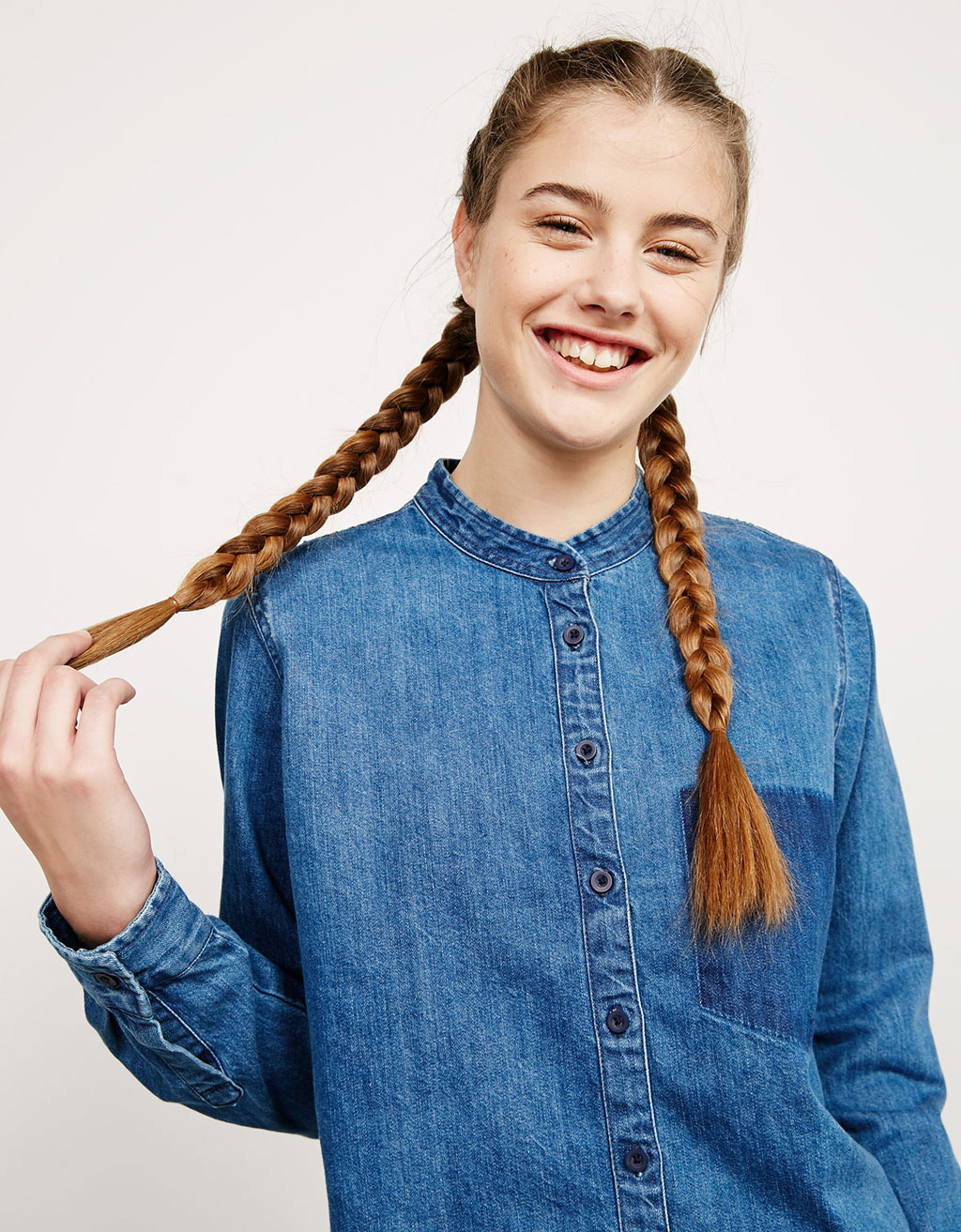 BSK Mandarin collar frayed denim top