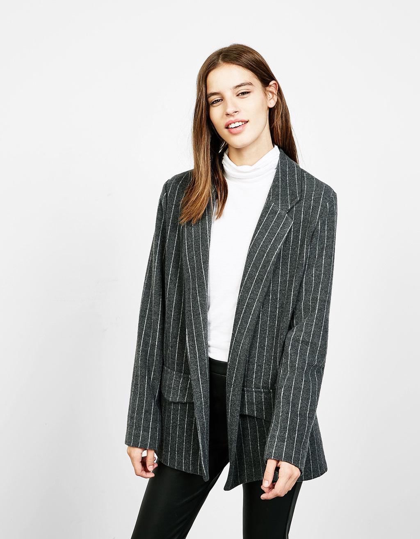 Jachetă blazer dungă fină