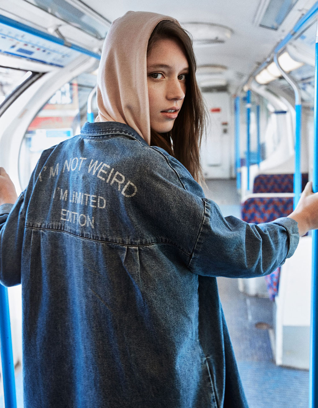 Back text long denim jacket