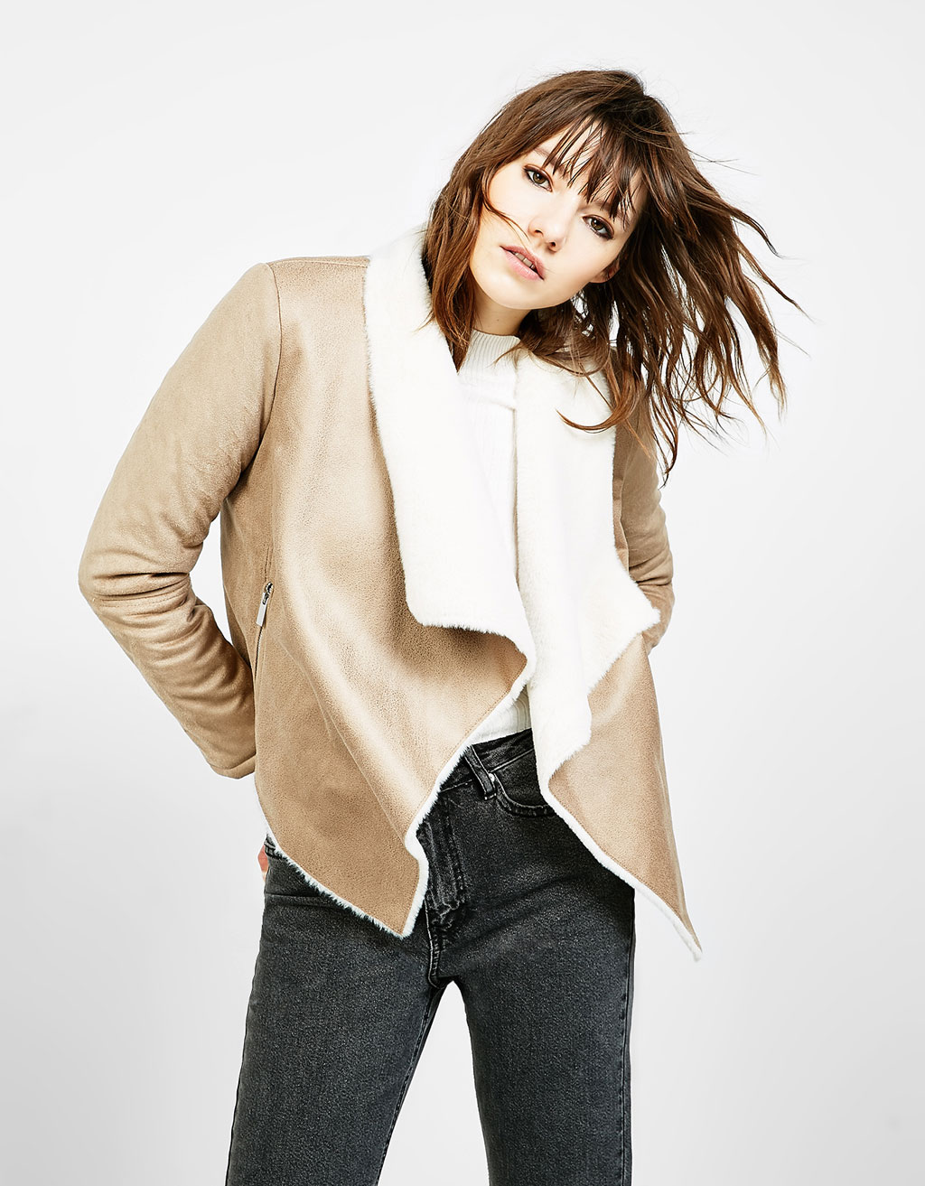 Double-sided draped coat