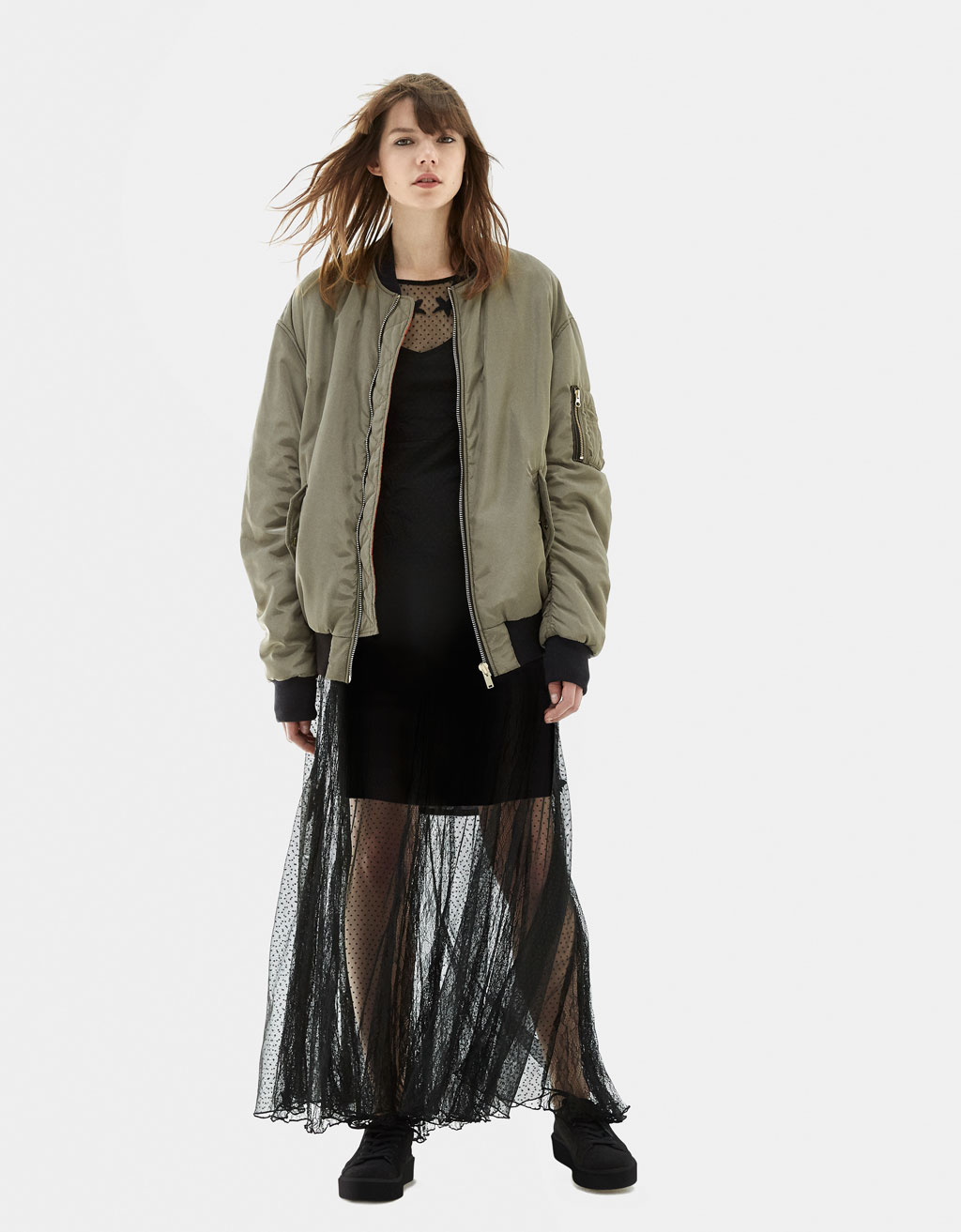 Oversized bomber jacket with gathered sleeves