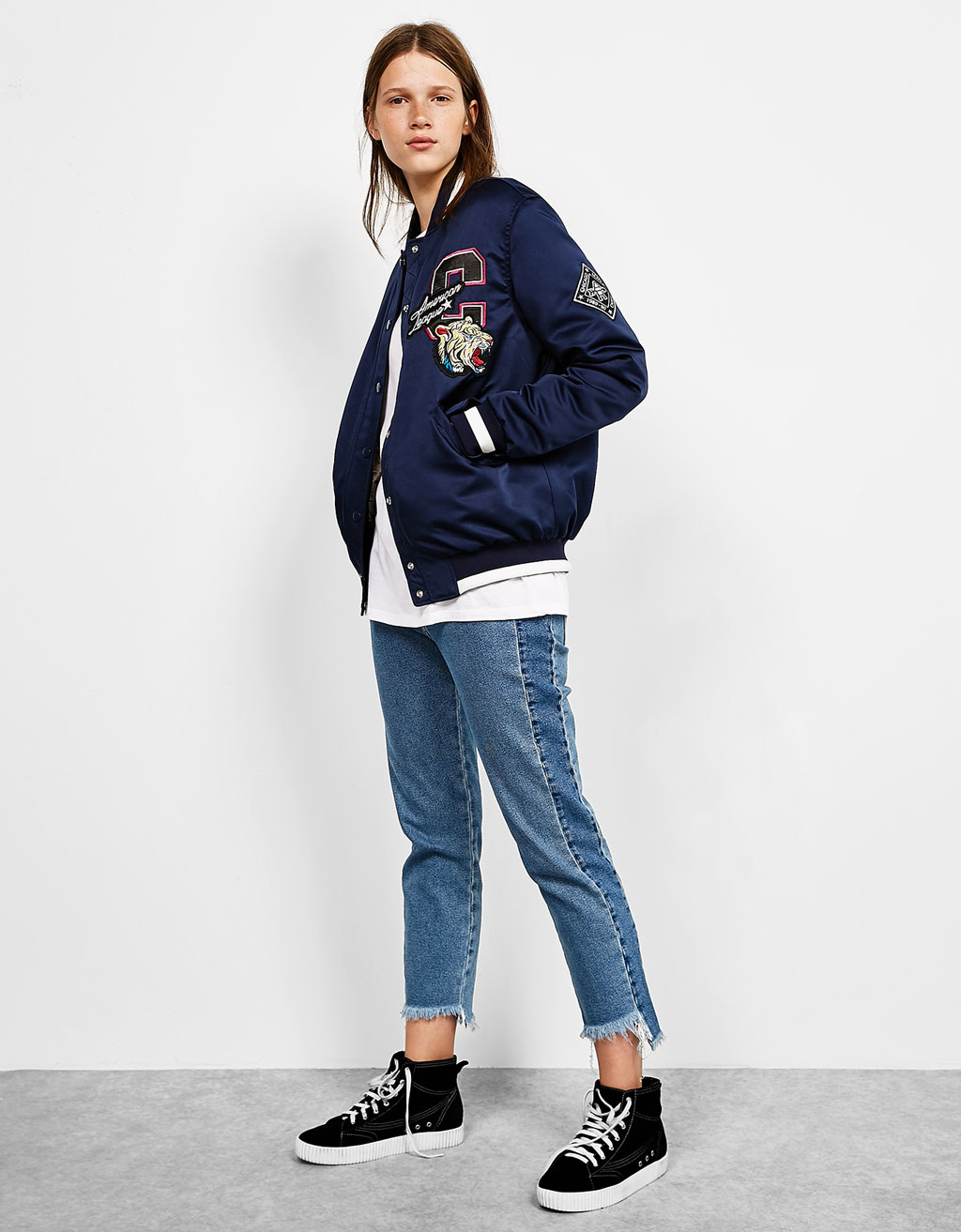 Embroidered sateen baseball jacket