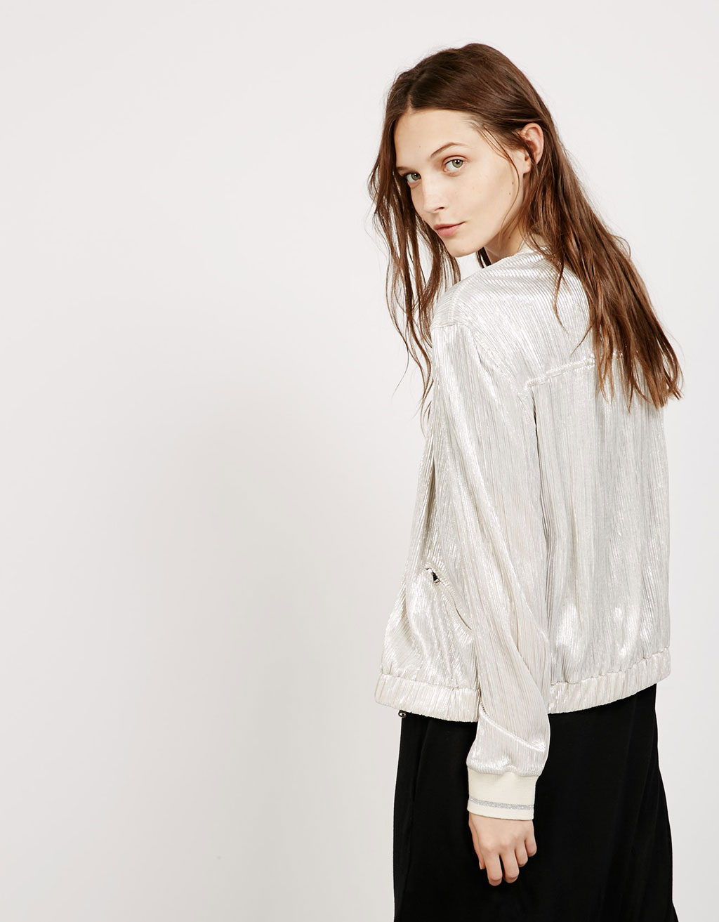 Silver pleated bomber jacket