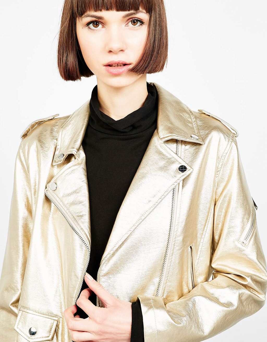 Golden imitation leather biker jacket