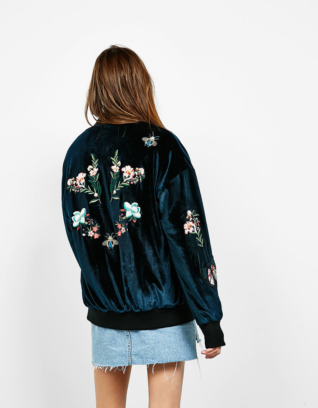 Embroidered velvet bomber jacket