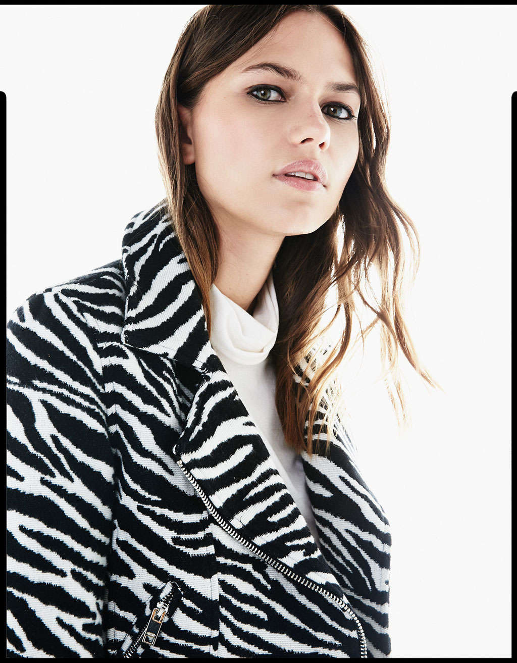 Zebra fabric biker jacket