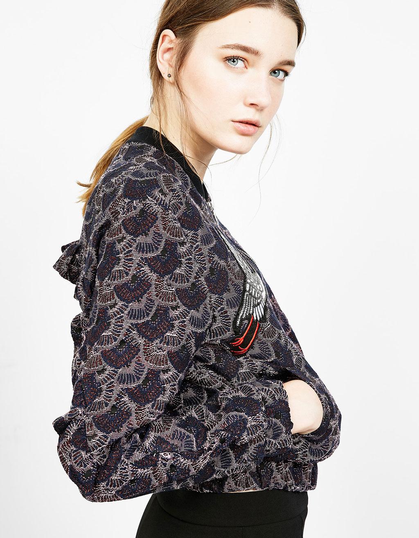 Jacquard fabric bomber-style jacket